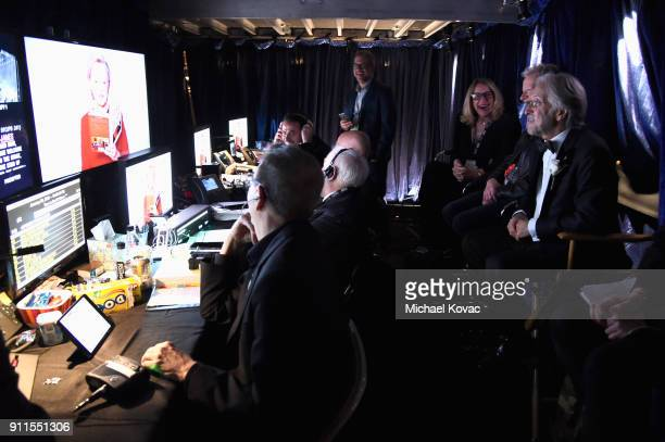 The Recording Academy and MusiCares President/CEO Neil Portnow and Production staff working behind the scenes at the 60th Annual GRAMMY Awards at...