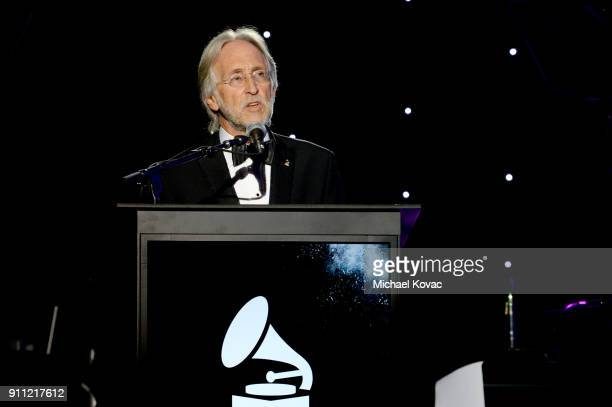 The Recording Academy and MusiCares President/CEO Neil Portnow speaks onstage during the Clive Davis and Recording Academy PreGRAMMY Gala and GRAMMY...