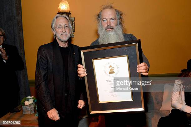 The Recording Academy CEO and President Neil Portnow and honoree Rick Rubin pose during the PE Wing Event honoring Rick Rubin at The Villiage Studios...
