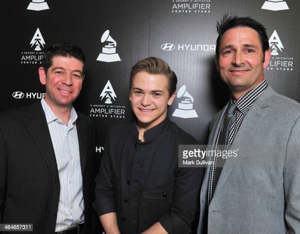 The Recording Academy CMO Evan Greene singer/songwriter Hunter Hayes and Hyundai New Media Group Manager Jon Budd Sr attend GRAMMY U Amplifier Press...