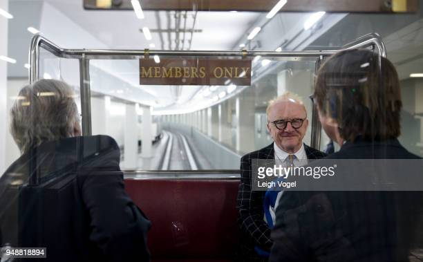 The Recording Academy President Neil Portnow producer and musician Peter Asher and musician Justin Roberts ride on the Senate Subway during The...