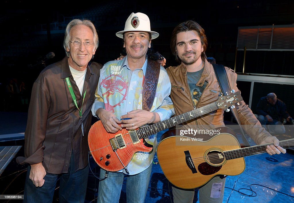 The Recording Academy President/CEO Neil Portnow, and recording artists Carlos Santana and Juanes appear onstage during rehearsals for the 13th annual Latin GRAMMY Awards at the Mandalay Bay Events Center on November 14, 2012 in Las Vegas, Nevada.