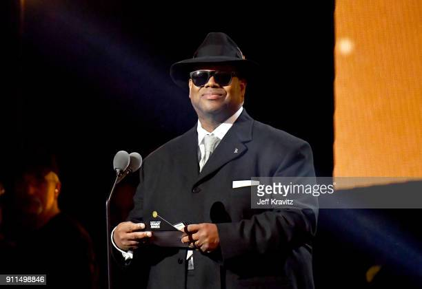 The Recording Academy's chairman of the board Jimmy Jam speaks onstage at the premiere ceremony during the 60th Annual GRAMMY Awards at Madison...