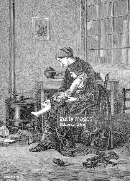 The recovering child The convalescent child mother with an ill child in the living room illustration from the 19th century
