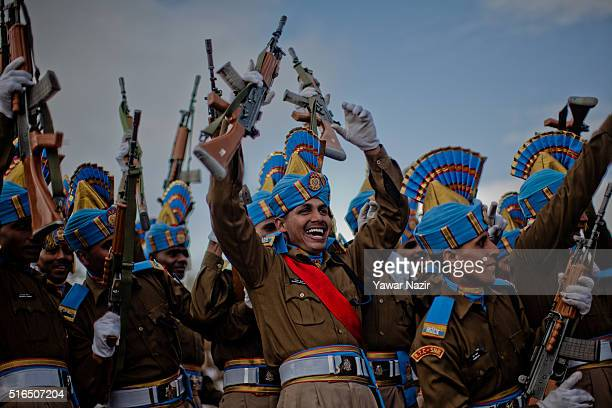 The recruits of Indian Central Reserve Police Force Constables rejoice after their passing out parade on March 19 2016 in Humhama on the outskirts of...