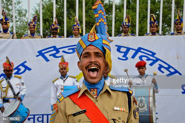 The recruits of Indian Central Reserve Police Force Constables shouts command during their passing out parade on July 14 2016 in Humhama on the...
