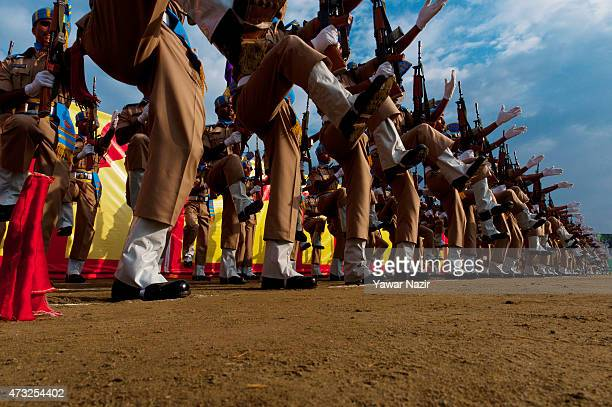 The recruits of Indian Central Reserve Police Force Constables stand in formation during their passing out parade on May 14 2015 in Humhama on the...