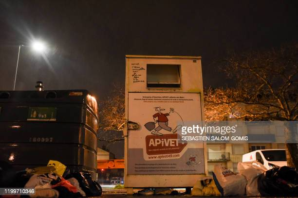 The recycling clothes container where Vanille a oneyearold French girl was found dead in Angers western France is pictured on February 9 after she...