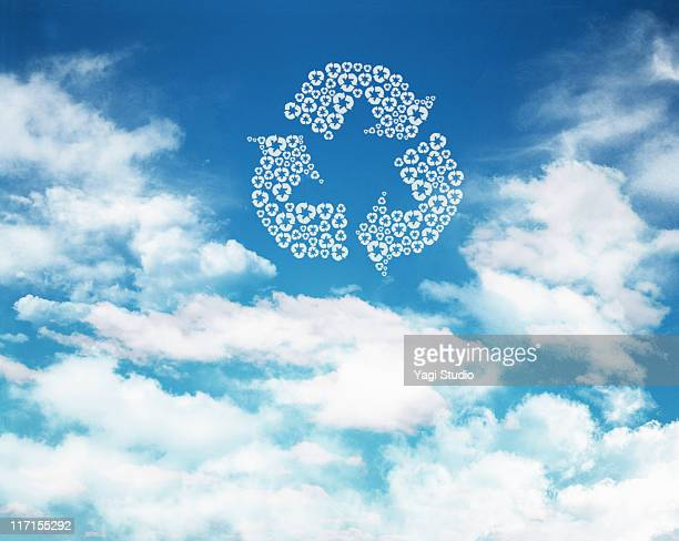 The recycling mark which appears in the blue sky