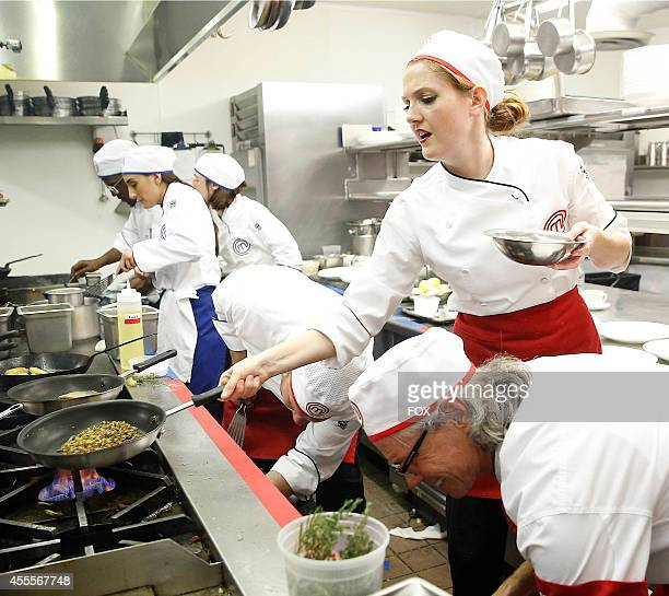 """The red and blue team in the """"Top 6 Compete"""" episode of MASTERCHEF airing Monday, Sep. 1, 2014 on FOX."""