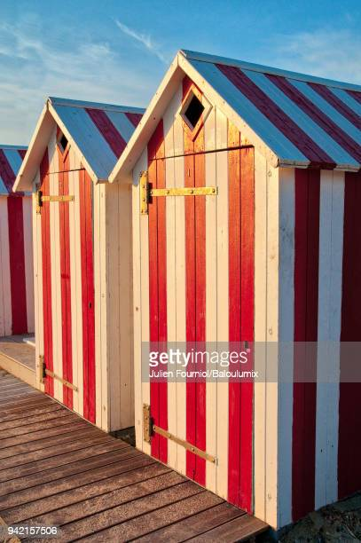 The red and white beach huts of Saint-Cyr-sur-Mer in France