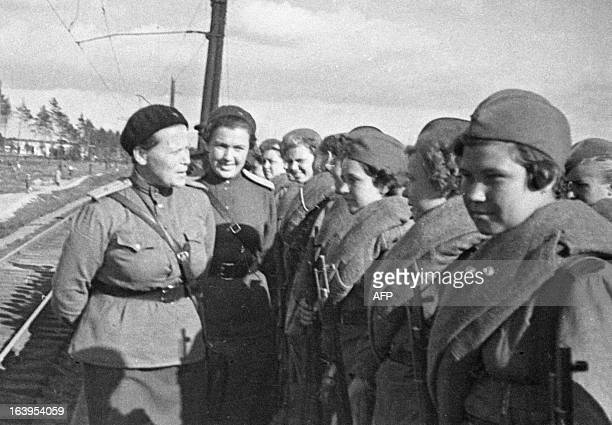 The Red Army Soviet female snipers gathered before leaving to the front in 1943 AFP PHOTO/Krasutskiy/RIA Novosti