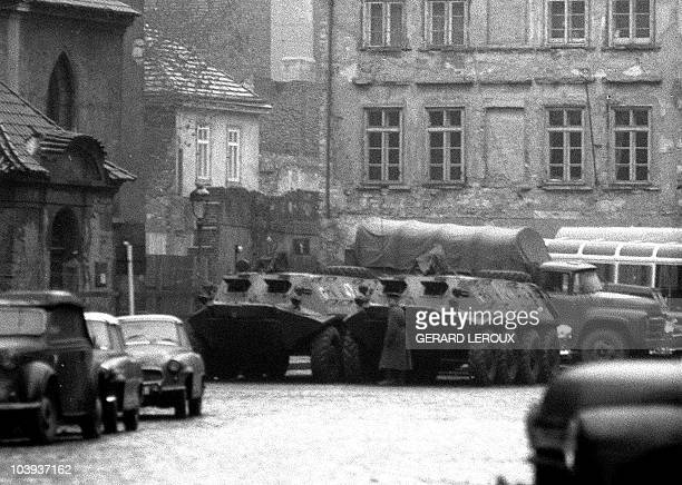 The Red Army truck and two APC vehicles are stationed in Prague's old town 25 January 1969 during the funeral of Jan Palach Czech student who burned...