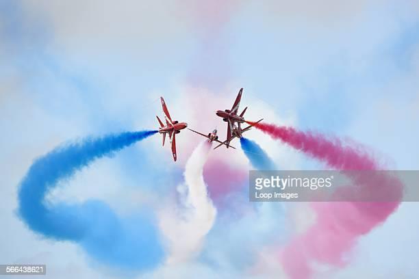 The Red Arrows aerobatic display at the Royal International Air Tattoo at RAF Fairford 2011.