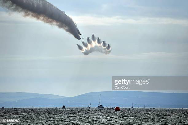 The Red Arrows aerobatics display team perform during the Bournemouth Air Festival on August 18 2016 in Bournemouth England The air show runs from...