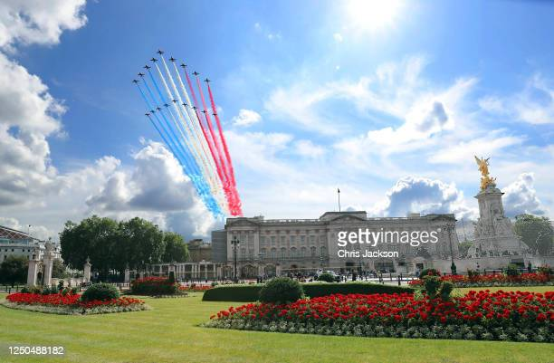 The Red Arrows and Patrouille de France fly past Buckingham Palace on June 18, 2020 in London, England. L'Appel du 18 Juin was the speech made by...