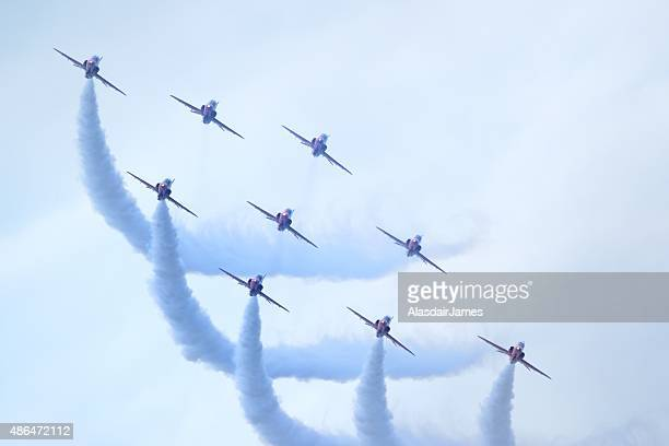 The Red Arrows at Rhyl Airshow, flying in diamond formation