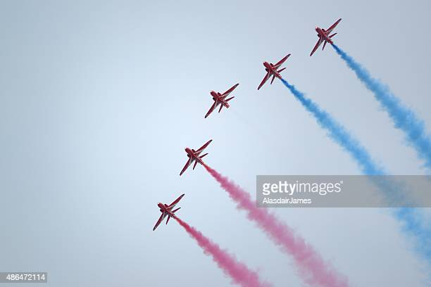 The Red Arrows at Rhyl Airshow, flying in formation