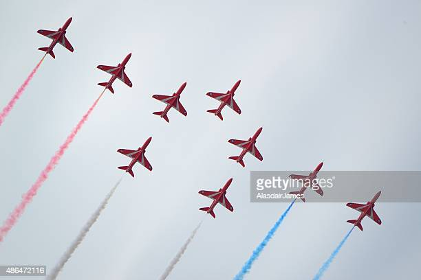 The Red Arrows at Rhyl Airshow, pheonix formation