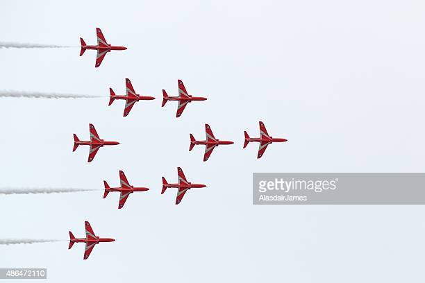 The Red Arrows at Rhyl Airshow Vulcan formation