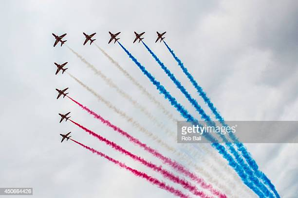 The Red Arrows display at The Isle of Wight Festival as Seaclose Park on June 15 2014 in Newport Isle of Wight