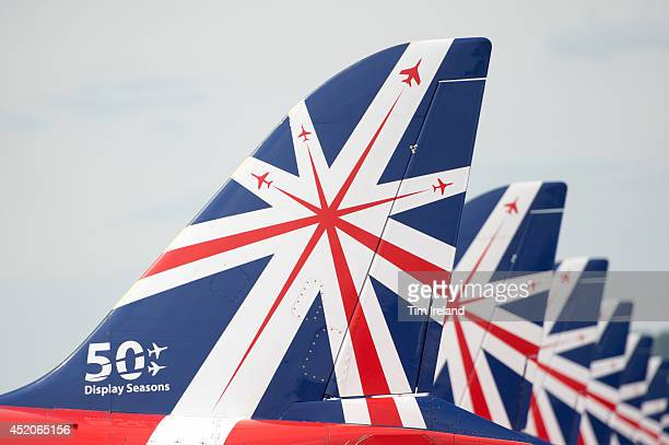 The Red Arrows display special fins as part of celebrations for their 50th display season during the Royal International Air Tattoo at RAF Fairford...