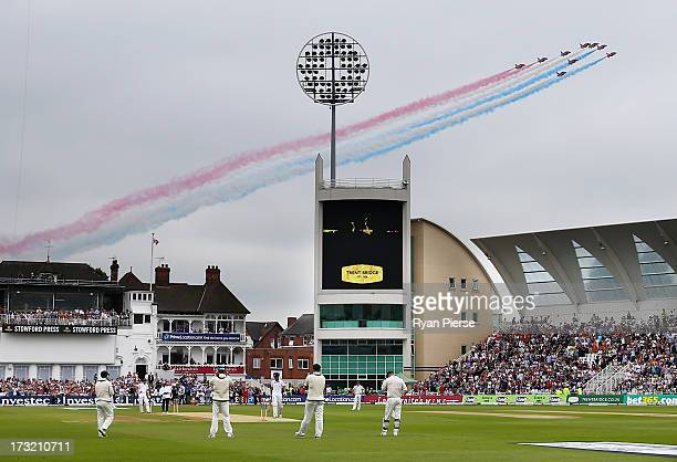 The Red Arrows fly over before day one of the 1st Investec Ashes Test match between England and Australia at Trent Bridge Cricket Ground on July 10...