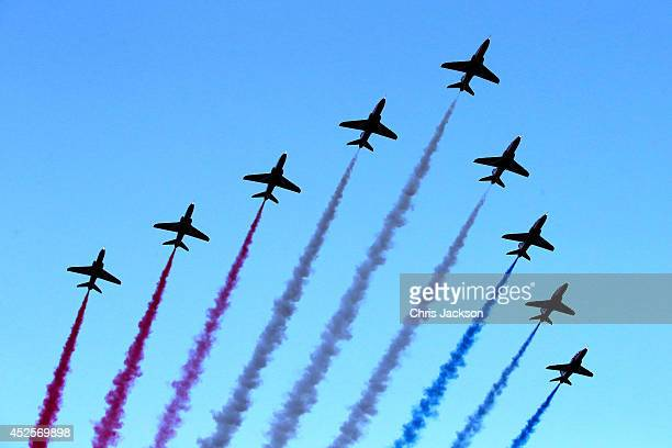 The Red Arrows fly over during the Opening Ceremony for the Glasgow 2014 Commonwealth Games at Celtic Park on July 23 2014 in Glasgow Scotland