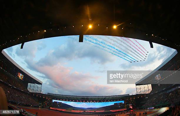 The Red Arrows fly over during the Opening Ceremony of the 20th Commonwealth Games at Celtic Park on July 23 2014 in Glasgow Scotland