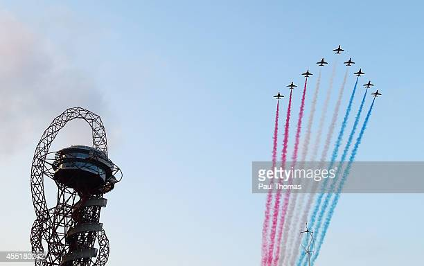 The Red Arrows fly over the opening ceremony for the Invictus Games, presented by Jaguar Land Rover at Queen Elizabeth Olympic Park on September 10,...