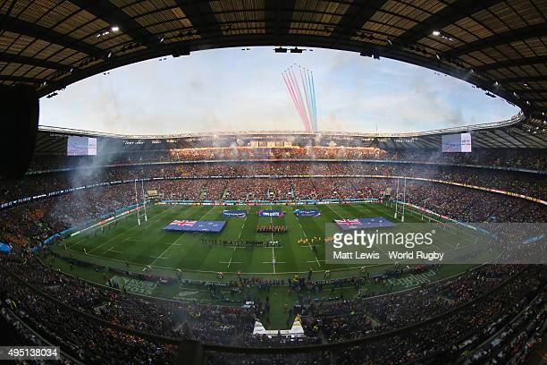 The Red Arrows fly over the stadium prior to the 2015 Rugby World Cup Final match between New Zealand and Australia at Twickenham Stadium on October...
