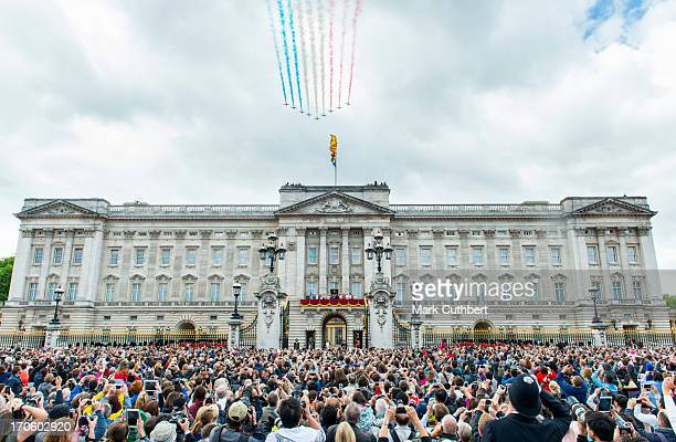 The Red Arrows flypast during the annual Trooping The Colour ceremony at Buckingham Palace on June 15 2013 in London England
