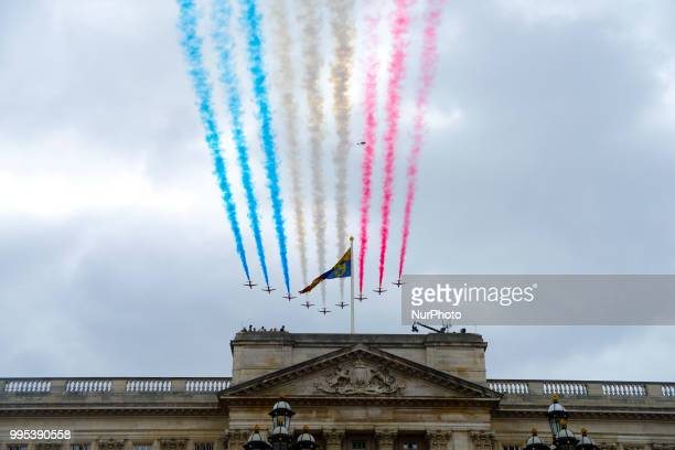 The Red Arrows flypast over Horse Guards Parade during RAF 100 celebrations on July 10 2018 in London England A centenary parade and a flypast of up...