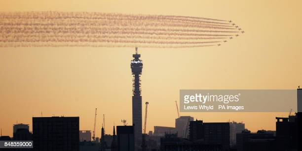 The Red Arrows perform a flypast passed the BT Tower in London ahead of the opening ceremony of the London 2012 Olympic Games