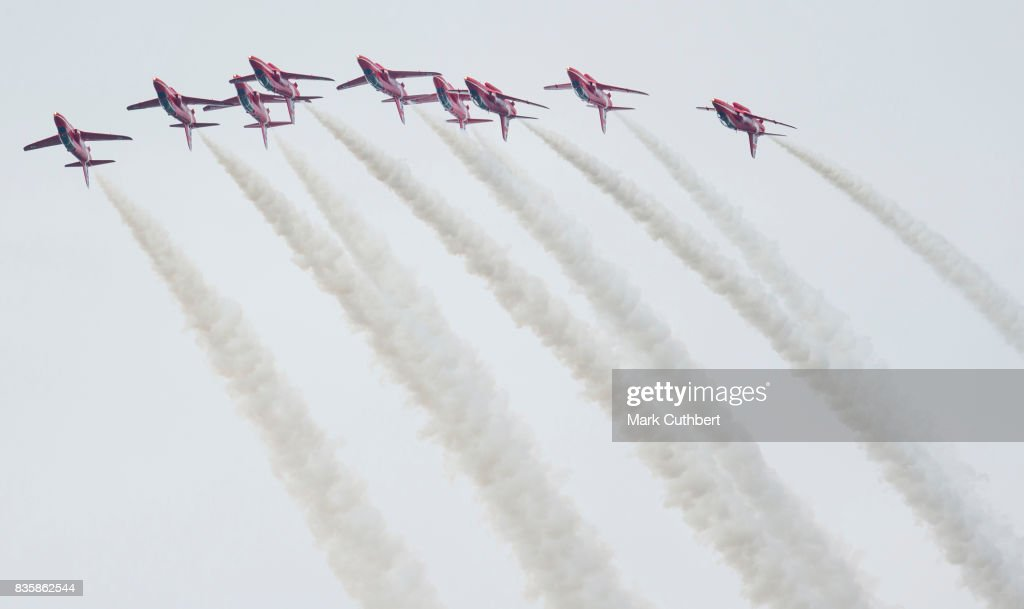 The Red Arrows perform at the Festival of Flight at Biggin Hill Airport on August 20 on August 20, 2017 in Biggin Hill, England.