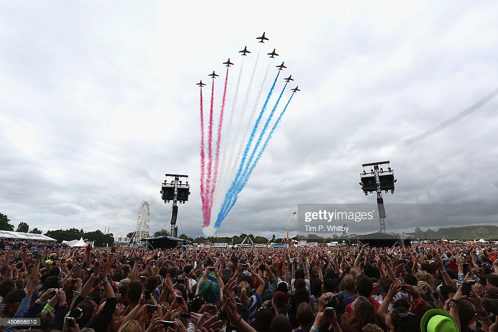 The Red Arrows perform at The Isle of Wight Festival at Seaclose Park on June 15, 2014 in Newport, Isle of Wight.