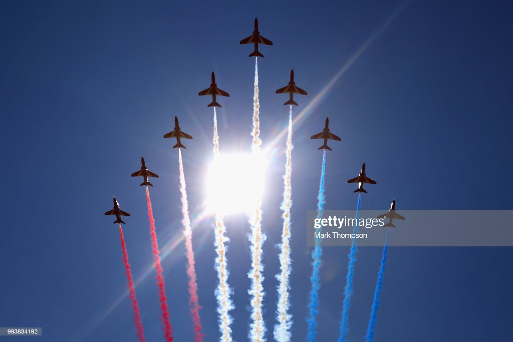 The Red Arrows perform before the Formula One Grand Prix of Great Britain at Silverstone on July 8, 2018 in Northampton, England.