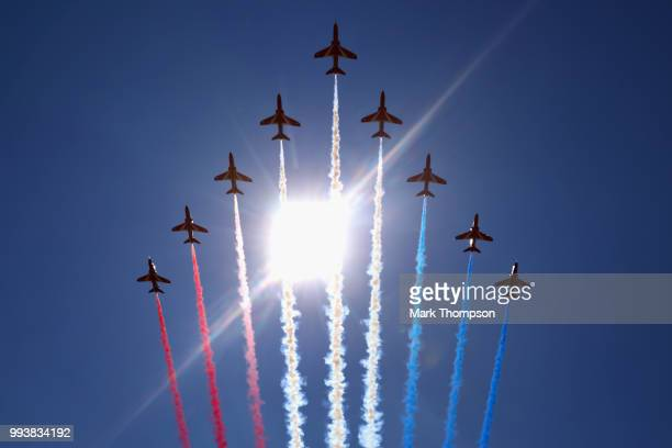 The Red Arrows perform before the Formula One Grand Prix of Great Britain at Silverstone on July 8 2018 in Northampton England