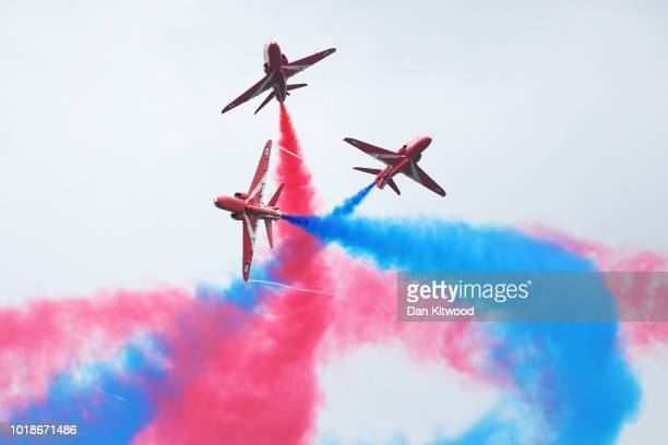 The Red Arrows perform during the Biggin Hill Festival of Flight at Biggin Hill Airport on August 18 2018 in Bromley England The Biggin Hill Festival...