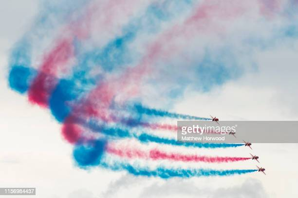 The Red Arrows perform during the International Air Tattoo at RAF Fairford on July 21 2019 in Fairford England The Royal International Air Tattoo is...