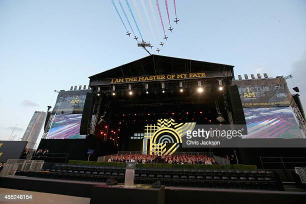 The Red Arrows RAF Display Team fly over the Queen Elizabeth II Park during the Invictus Games Opening Ceremony on September 10, 2014 in London,...