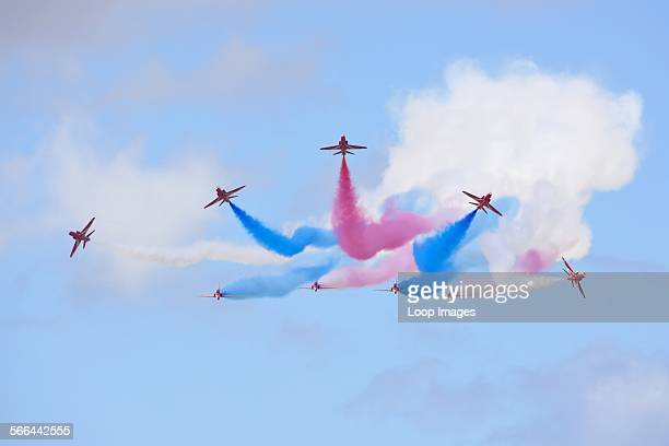The Red Arrows team breaking from formation at the Royal International Air Tattoo at RAF Fairford 2011.