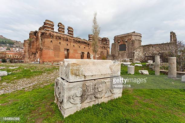 the red basilica of pergamon, turkey - bergama stock pictures, royalty-free photos & images