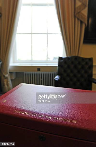 The red briefcase, traditionally used by British Chancellor of the Exchequers, is displayed during a photocall at No. 11 Downing Street ahead of...