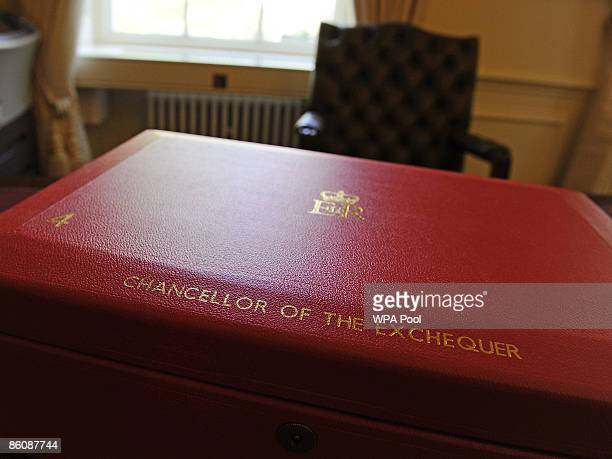 The red briefcase traditionally used by British Chancellor of the Exchequers is displayed during a photocall at No 11 Downing Street ahead of...