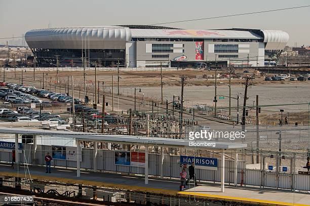 The Red Bull GmbH Arena sits just across the Passaic River from Newark in Harrison New Jersey US on Wednesday March 9 2016 New Jersey's credit rating...