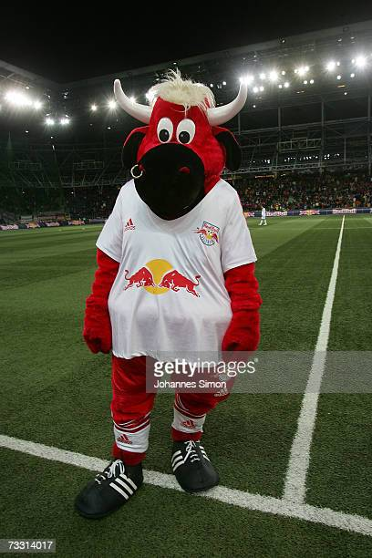 The Red Bull mascot of Austrian soccer club Red Bull Salzburg stands on the pitch during the Red Bulls Cup match between Red Bull Salzburg and Bayern...