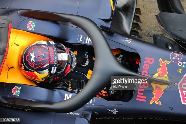 the Red Bull of Max Verstappen during the tests at the BarcelonaCatalunya Circuit on 27th February 2018 in Barcelona Spain