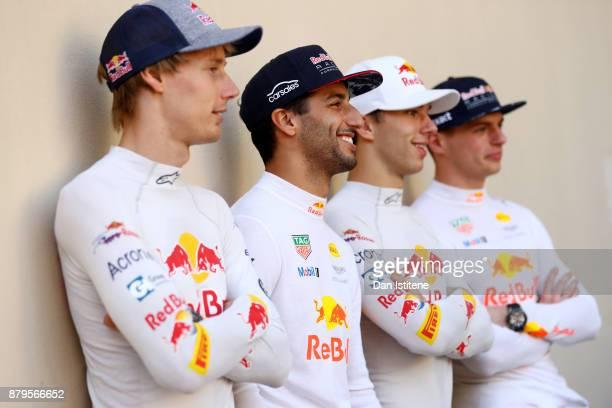 The Red Bull Racing and Scuderia Toro Rosso drivers for 2018 Brendon Hartley of New Zealand and Scuderia Toro Rosso Daniel Ricciardo of Australia and...