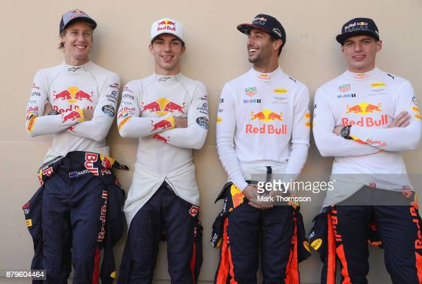 The Red Bull Racing and Scuderia Toro Rosso drivers for 2018 Brendon Hartley of New Zealand and Scuderia Toro Rosso Daniel Ricciardo of Australia and...
